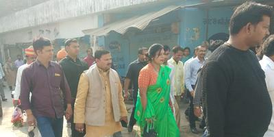 लखनऊ मेयर माननीय श्रीमती संयुक्त भाटिया जी के साथ किया क्षेत्र निरीक्षण