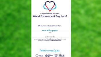 Anuradha Gupta selected as World Environment Day Hero by UN Environment Team