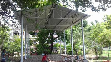 लखनऊ के महाराणा प्रताप पार्क में योग हेतु निर्माणाधीन टिन शेड का निरीक्षण